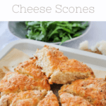 cheese scones using up leftover cauliflower on a tray next to salad