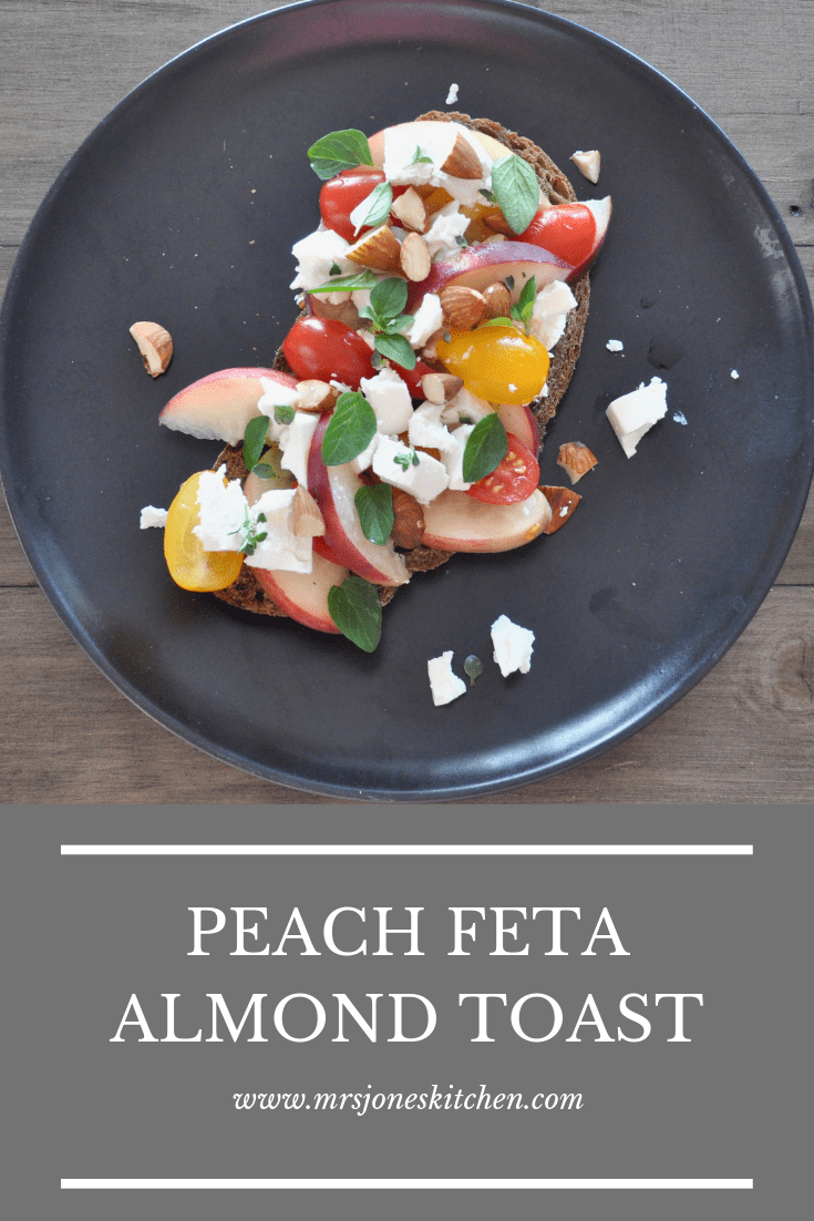Quick and healthy lunch idea with juicy peaches, salty feta and crunchy almonds