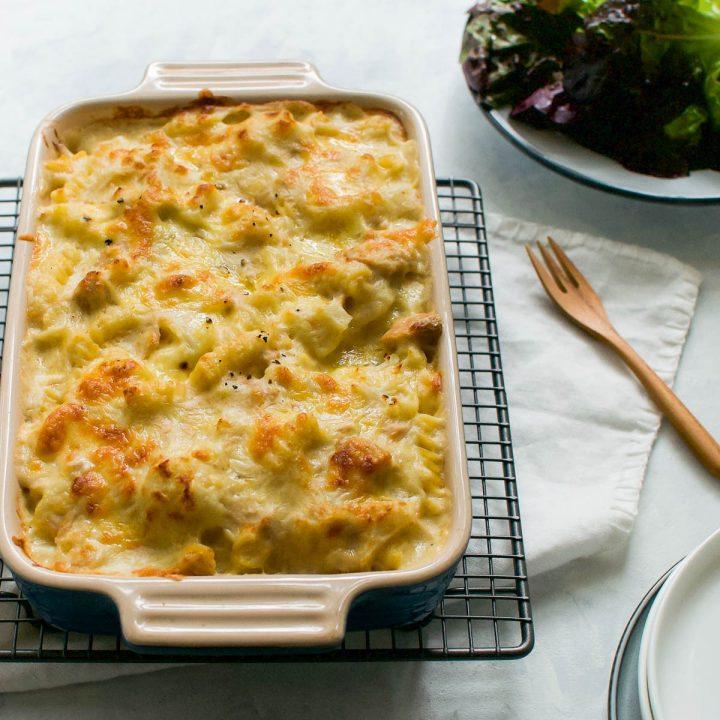 cauliflower and tuna pasta bake freshly baked in baking dish