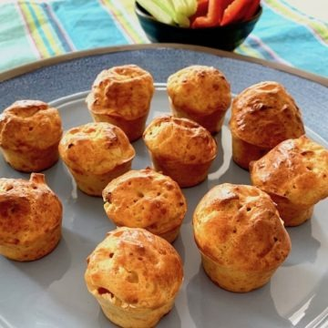 Gluten free muffins on blue plate
