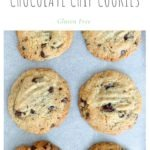 six almond flour chocolate chip cookies in rows on white background