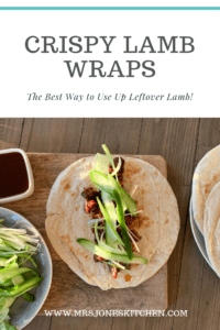 wrap topped with crispy lamb, cucumber and spring onion