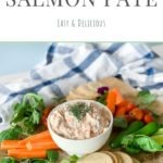 easy smoked salmon dip on wooden board with crudite