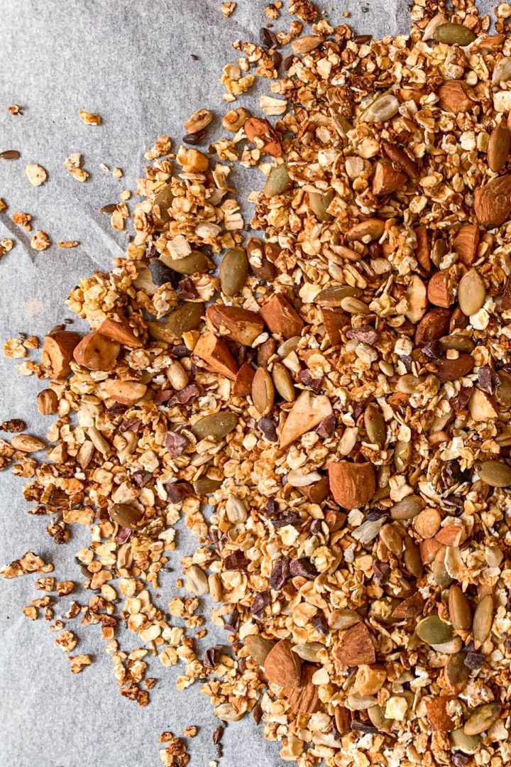 close up of granola with almonds and pumpkin seeds