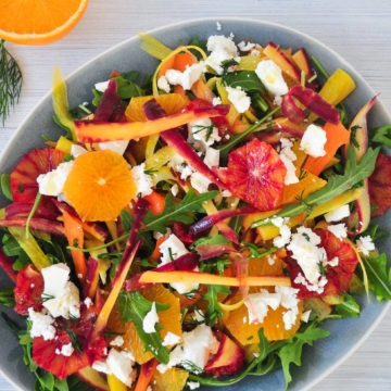 orange and carrot feta salad with rocket and dill