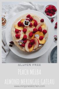 healthy gluten free dessert of almond meringue and fresh peaches and raspberries