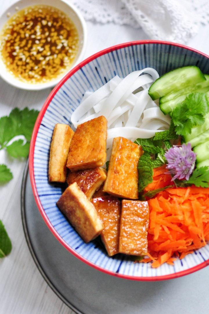 close up of shiny sticky tofu and salad