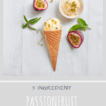 no churn passionfruit ice cream in cone with fresh passionfruit