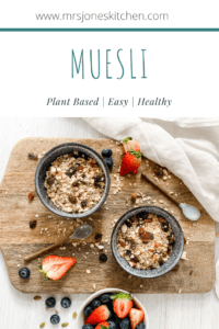 vegan breakfast recipe no added sugar muesli in bowls