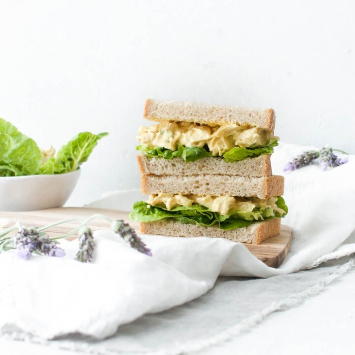 two coronation chicken sandwiches with lettuce