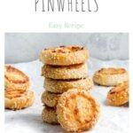 ham and cheese pinwheels pin showing stack of pinwheels