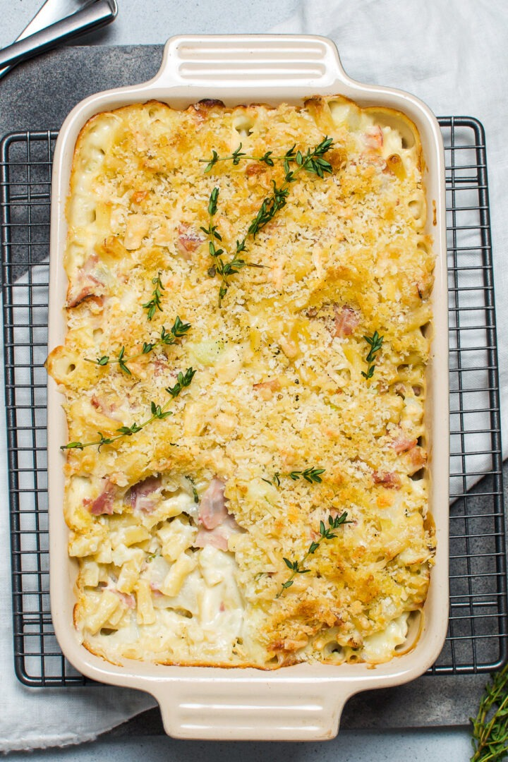 cauliflower mac and cheese in rectangular baking dish with spoonful taken out to show the creamy pasta under the crispy panko breadcrumb topping