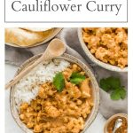 pin for vegan chickpea and cauliflower curry
