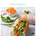 leftover turkey banh mi pin showing the colourful layers of the sandwich