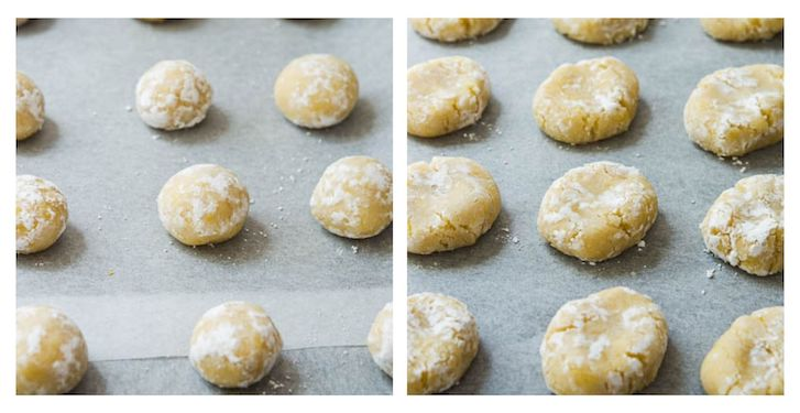 image to show ricciarelli in balls before being shaped, and once shaped and crackled