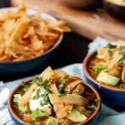 leftover turkey tortilla soup in two bowls