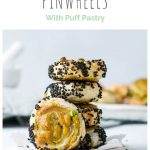 pin for samosa pinwheels with puff pastry with stack of pinwheels rolled in nigella seeds