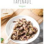 pin for mushroom tapenade showing it on plate with spoon
