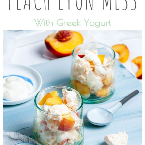 Pin for healthy Eton mess showing two glasses filled with peach eton mess on light blue background