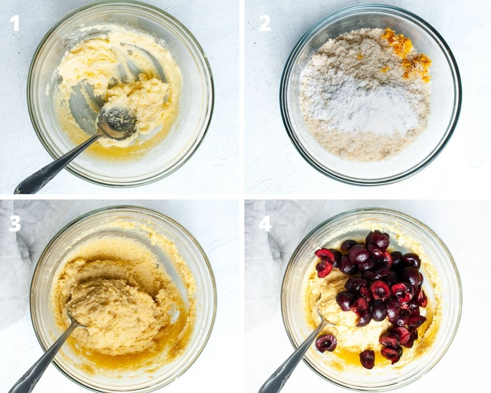 4 process images for making the bakewell cake: beating butter and sugar, dry ingredients, mixing the two together and then adding the fresh cherries