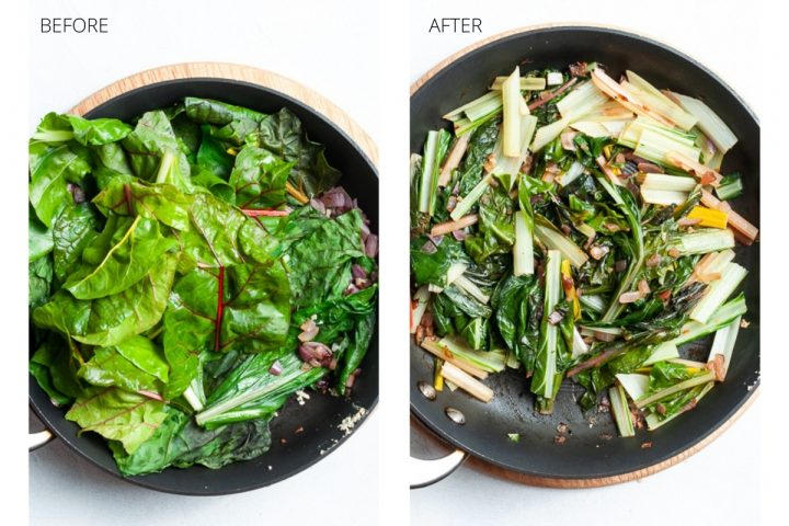 Cooking of the silverbeet, before picture on the left with the leaves full, after picture on the right showing how it shrinks