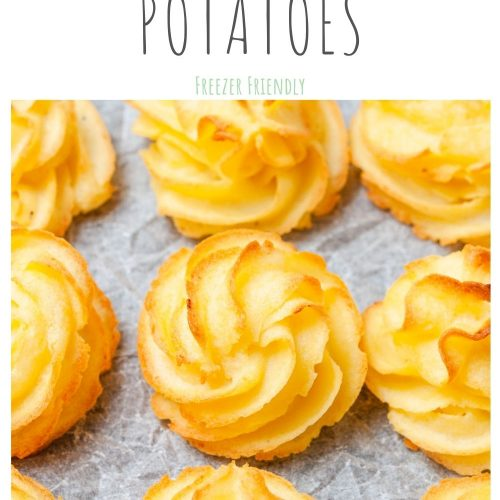 pin for duchess potatoes featuring a close up of the potatoes
