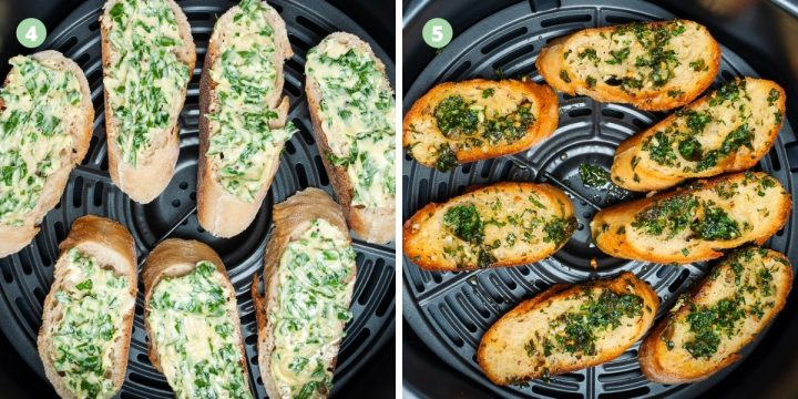 Air fryer garlic bread process image, bread before and after cooking