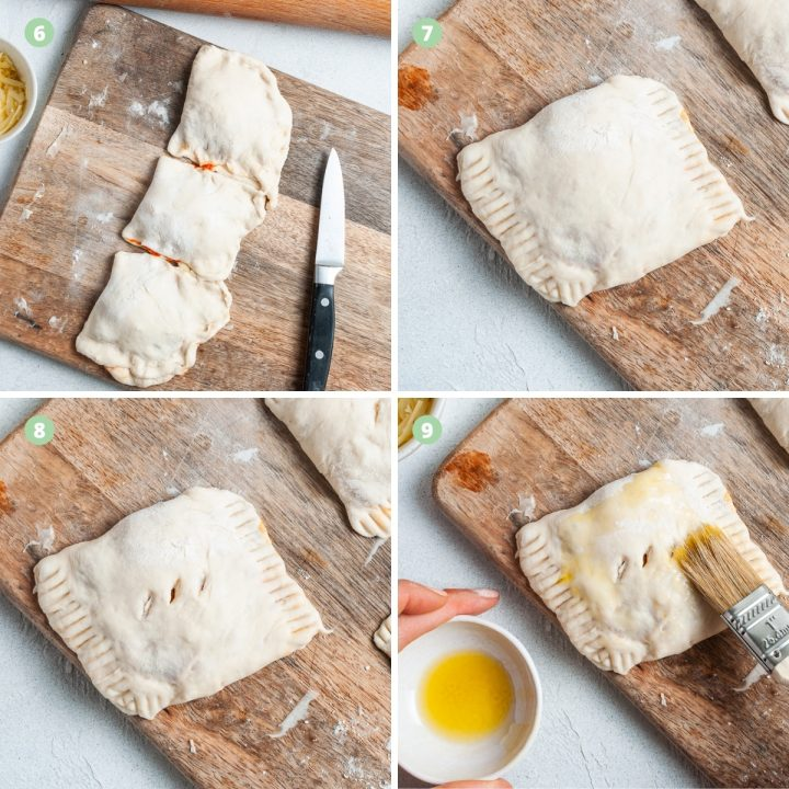Steps 6-10 of making pizza rolls in the airfyer: folding and sealing the rolls, steam holes and then brushing with olive oil