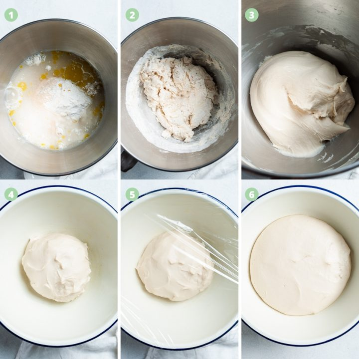 A collage of 6 images showing the process of making the pizza dough: mixing, leaving to rise and it risen