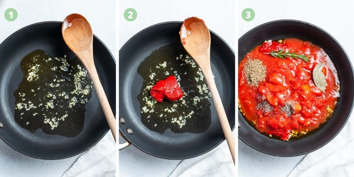 Easy homemade pizza sauce process image showing the simple steps: frying the garlic, adding tomato puree, then the rest of the ingredients