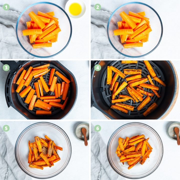 6 process shots to show step by step how to roast carrots in the air fryer: cut them the same size, coat lightly in oil, fry until tender, coat in cumin salt
