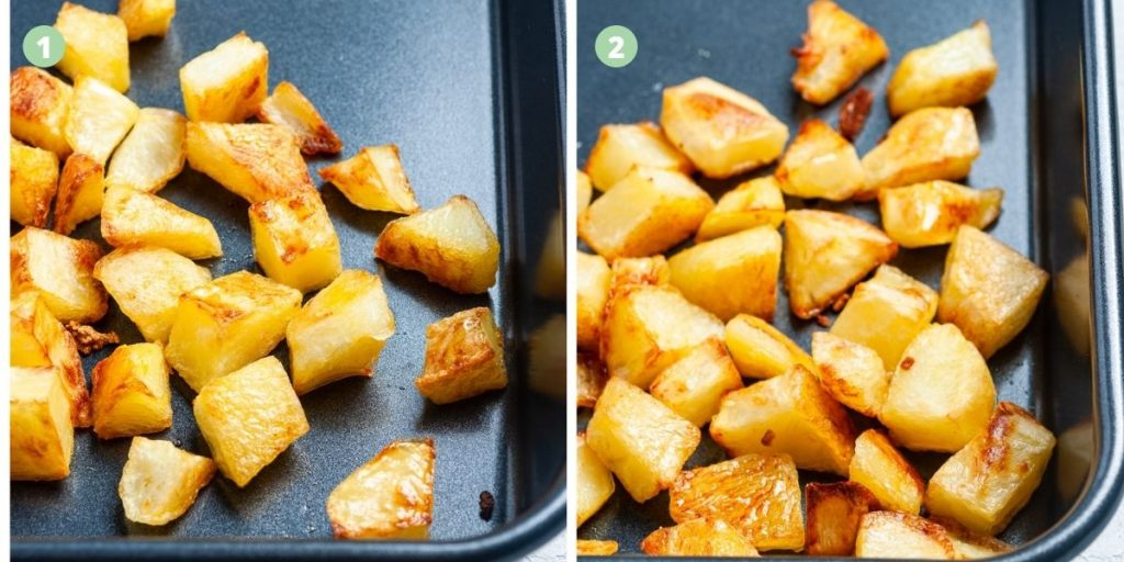 two images next to each other to show the difference between cooking the potatoes at 180 degrees celsius and 200 degrees celsius. The picture on the right, cooked at the higher temperature is slightly more golden