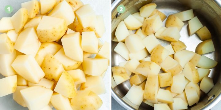 Parmentier potatoes process images showing the size of the potato cubes, and the cooked parboiled potatoes