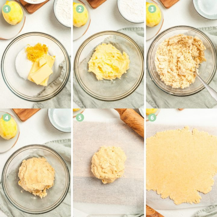 6 step by step process shots to show how to make the shortbread cookies: mixing the butter, sugar and lemon zest until fluffy, adding the flour, brining the dough together and rolling