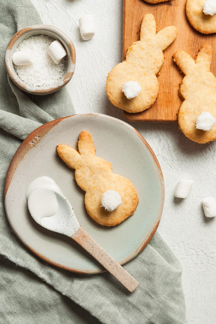 The shortbread dough made into an Easter bunny cookie with marshmallow tail to show how it can be used for shaping fun biscuits for Easter