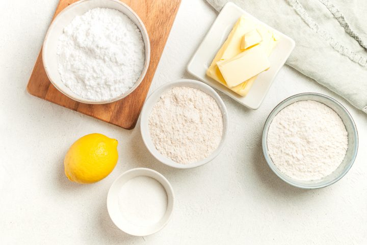 image to show the individual ingredients for lemon shortbread cookies