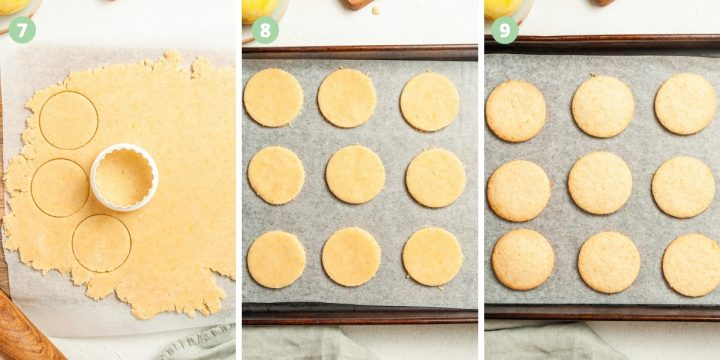 3 step by step process shots for cutting and baking the biscuits