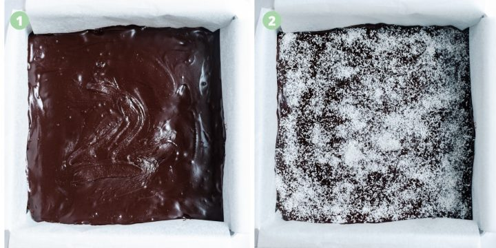 2 process shots to show the glossy chocolate icing and then the slice sprinkled with coconut