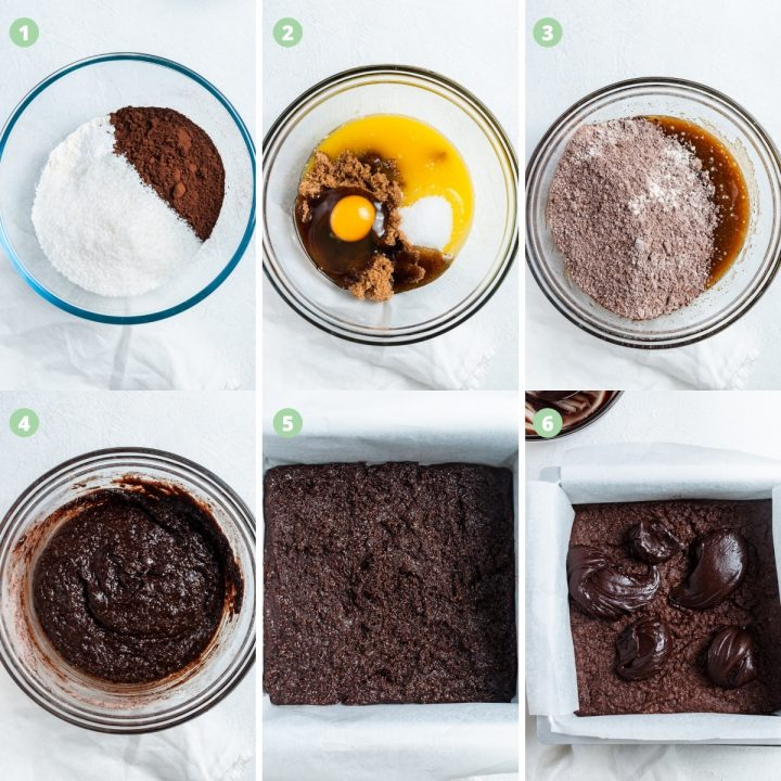 6 step by step images to show making the fudge slice: the process of mixing the ingredients, putting it into the tray and then baking once iced