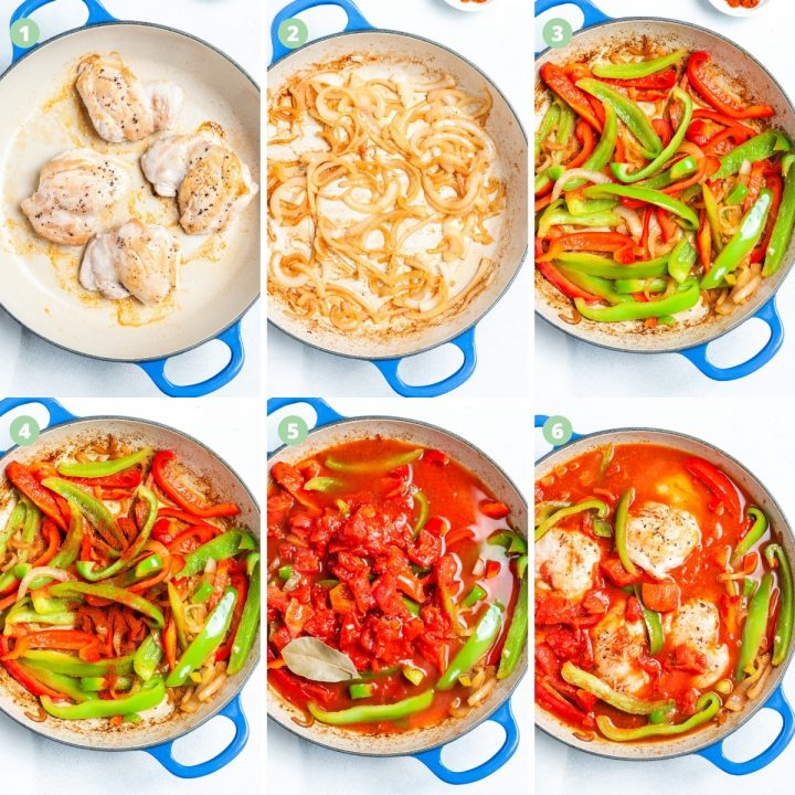 6 step by step process shots showing making the dish in one pot: browning the chicken thighs, cooking the onions, adding the peppers, then the spices, adding tomatoes and then returning the chicken to the pan