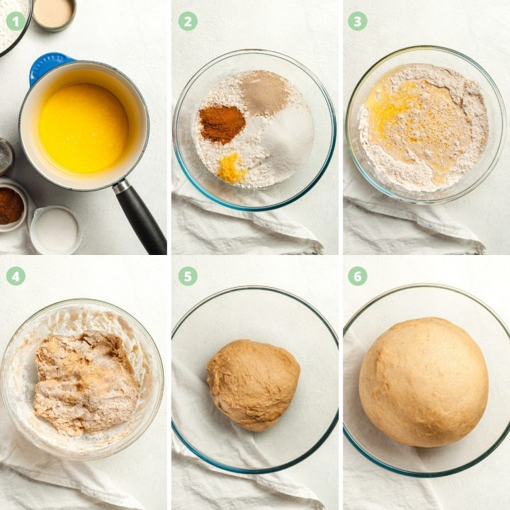 6 images to show first 6 steps of how to make hot cross bun swirls
