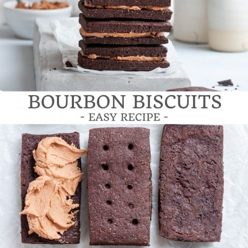 pin for bourbon biscuits, easy recipe showing a stack of biscuits at the top, and a bottom picture of biscuits being iced with buttercream