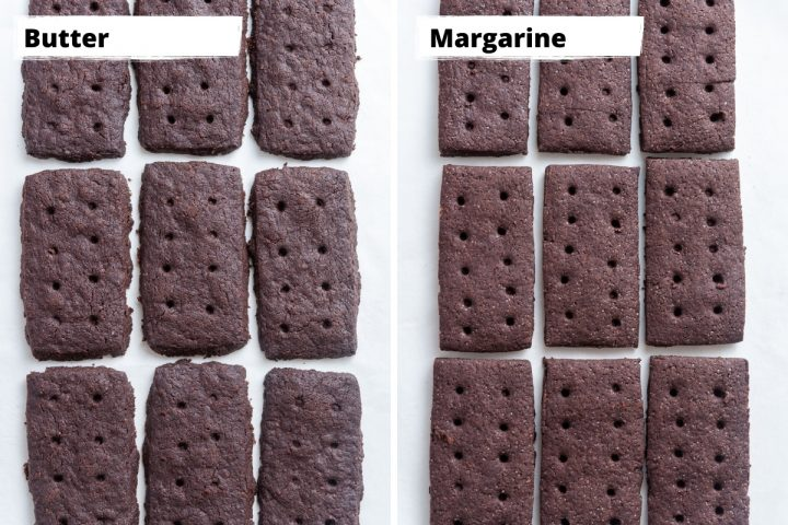 a collage to show the difference between bourbon biscuits made with butter and margarine.