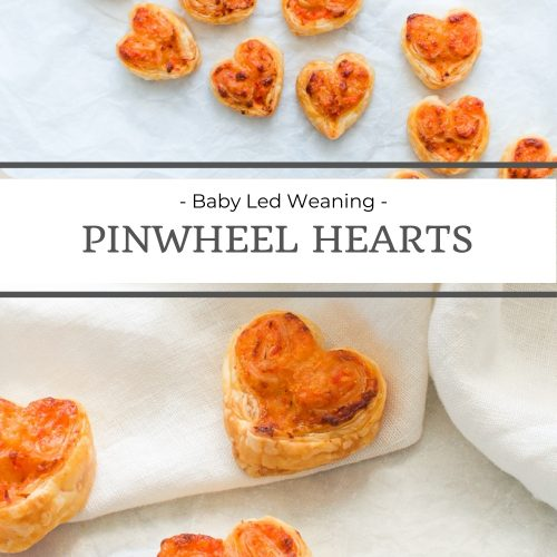 pin for baby led weaning pinwheel hearts showing overhead shot of the hearts and a close up to show the pepper/capsicum filling