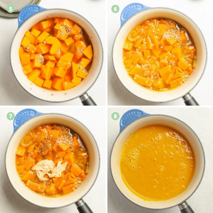 steps 5-8 of making pumpkin soup, showing the adding of stock, cooked vegetables, adding of peanut butter and blended smooth soup