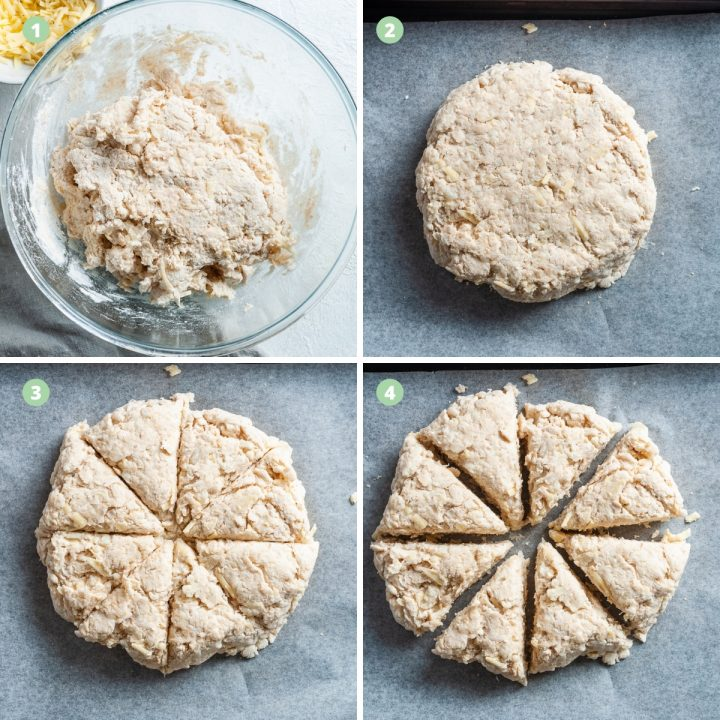 step by step photos to show mixing, shaping dough, cutting and placing the scone dough on the baking tin