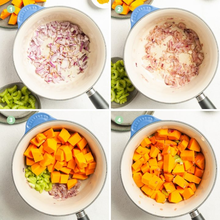 for step by step images to show cooking of onion, adding other vegetables and the other vegetables once cooked