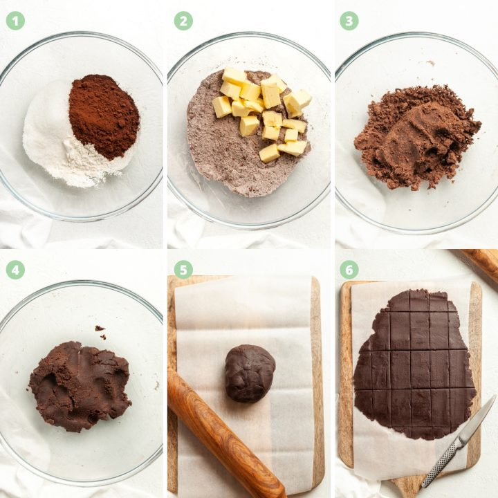 a collage showing steps 1-6 of making bourbon biscuits. Mixing the ingredients, kneading them, rolling the dough and cutting into rectangles