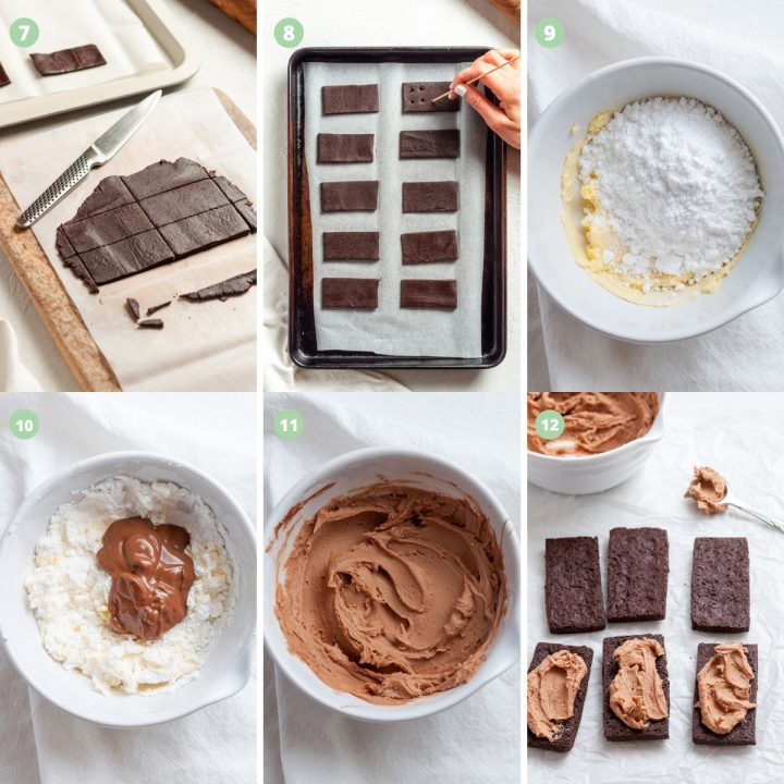 collage of steps 7-12 of making bourbon biscuits: pricking the holes, the chocolate buttercream ingredients and mixing, and topping the biscuits with the buttercream