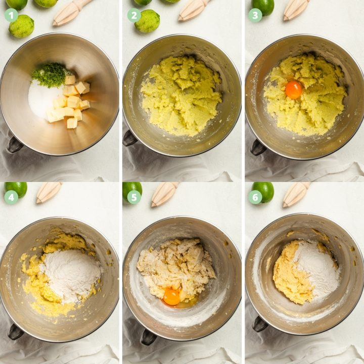 process shots 1-6 of making lime drizzle cake: mixing the butter with sugar and lime zest, adding eggs one at a time alternating with flour.